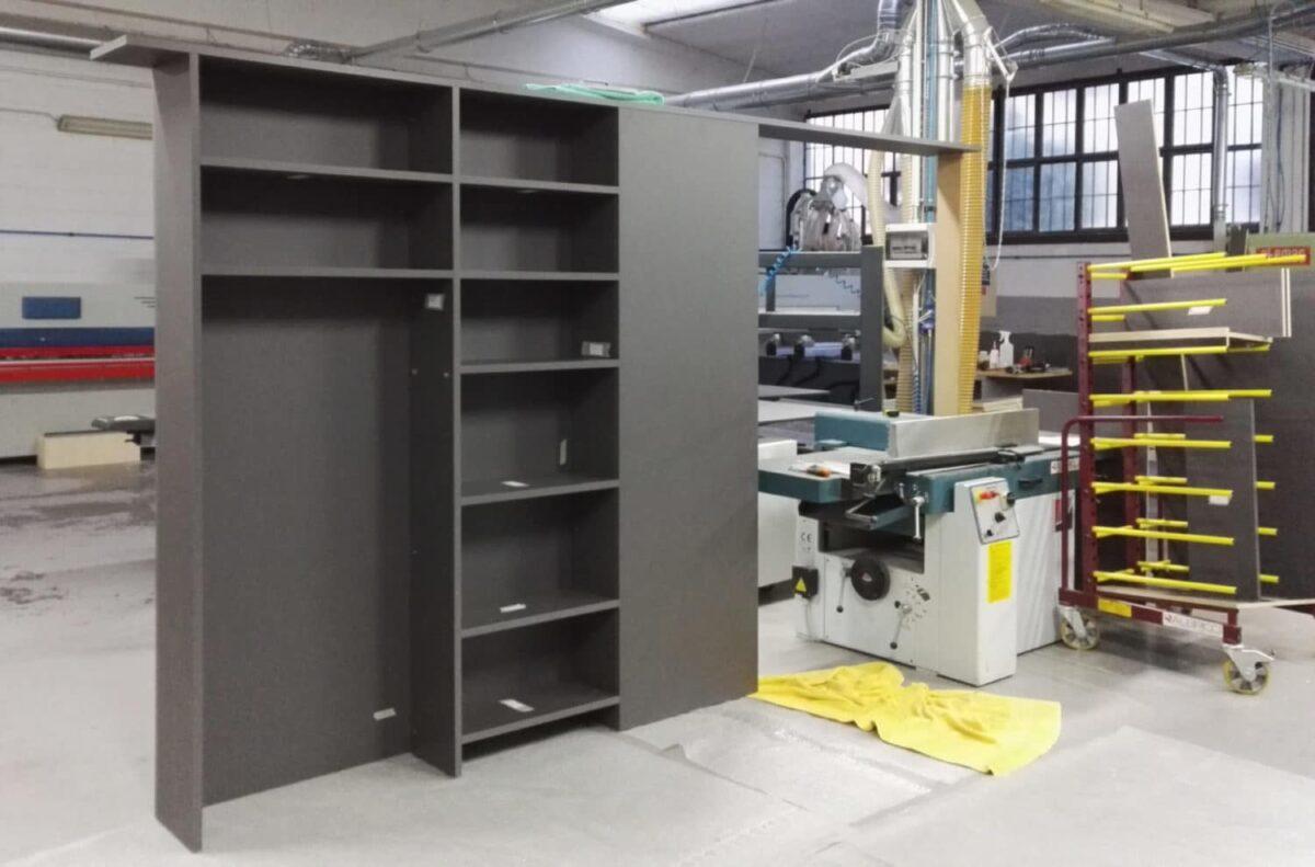 Cameretta integrata, pre-montaggio in falegnameria